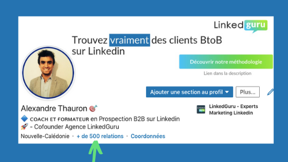 Mention + 500 contacts profil Linkedin