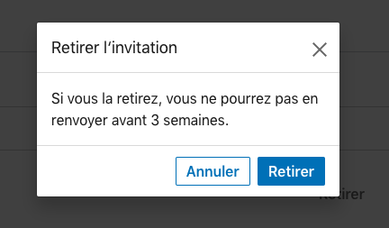 pop up annuler invitation linkedin
