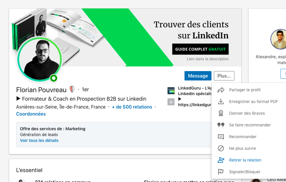 exemple annuler invitation Linkedin